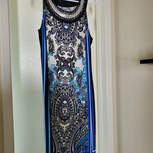 Inc dress with embellished neckline.